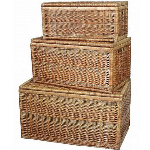 Cotswolds Set of Stacking & Nesting Wicker Storage Chests H 51 x W 92cm